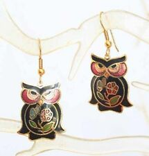 Mid Century Modern Black Cloisonne Enamel Owl Pierced Earrings 1970s vintage