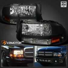 97-04 Dodge Dakota/Durango Black 1Pc Front Headlights Pair