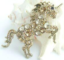 Yellow Rhinestone Crystal Pendant 06172C5 Charming Unicorn Horse Brooch Pin Tea