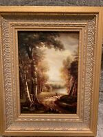 Country French Framed Oil Painting-Sheep On Path