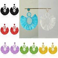 Women 2020 Bohemian Earrings Lafite Tassel Fringe Boho Dangle Earring Jewelry