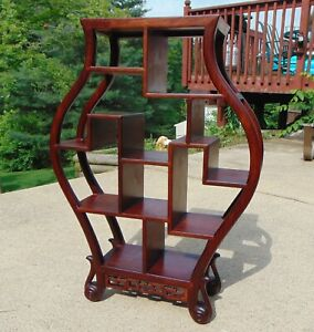 Antique Chinese Hand Carved Rosewood Hongmu Miniture Display Stand in Vase Form