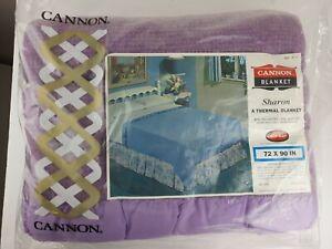 New Vintage Cannon Lock-Nap Blanket 72 x 90 Sharon Retro Mid- Century Purple