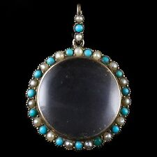 ANTIQUE VICTORIAN TURQUOISE PEARL PENDANT ROCK CRYSTAL LOCKET CIRCA 1900