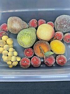 19 Pc. Vtg Beaded Sugar Faux FRUITS Apples Grapes Pear Cherries Peach