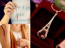 Womens New Paris Eiffel Tower Transparent Crystal Ball Pendant Long Necklace WOA