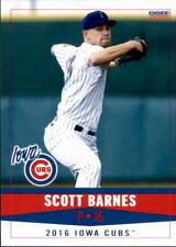 2016 Iowa Cubs Choice #3 Scott Barnes Chicopee Massachusetts MA Baseball Card