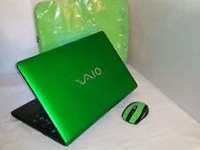 "Green Satin Sony Vaio VPCEH25FX 15.5"" 750gb 4gb Windows 7 & 10 i3 2.20GHz Office"