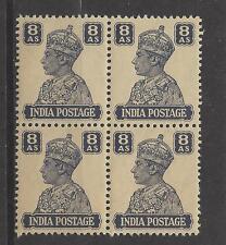 INDIA, BRITISH # 178 MNH KING GEORGE VI  8 ANNA  Block of 4
