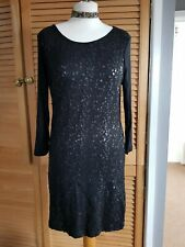 BLACK SEQUINNED FRONT M & S COLLECTION BODYCON WIGGLE DRESS SIZE 8 :3/4 SLEEVES