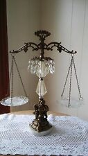 Brass Cherub On Marble Balance Scales With Crystal Prisms Italy Vintage