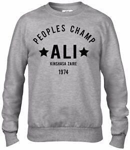 Muhammad Ali Champion Rumble in the Jungle Boxing crew/sweater/Jumper Grey