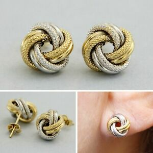 18k 18ct Real Yellow White GOLD Celtic Love Knot Studs Italian Earrings Womens
