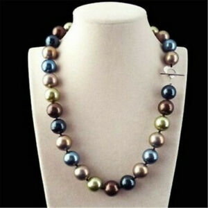Huge 12mm Multicolor Round South Sea Shell Pearl Necklace 18'' Jewelry Wedding