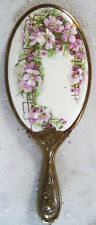 Vintage Decorative Hand Mirror - Spring Flowers Image with Embossed Brass Handle