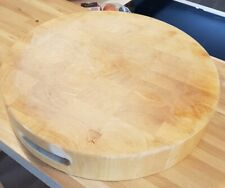 Large round butchers block style cutting board chopping board