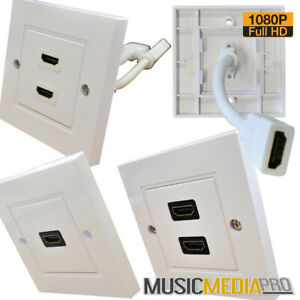HDMI wall Face Plate with sockets/leads at Rear Full HD 1080P White Standard fit