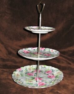Vtg. 3 Tier Party Cookie Plates by Norcrest Flower Design w/ Gold Leaf Edges
