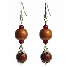boucles d'oreilles pendantes boules bois cuivré métallisé marron très légères