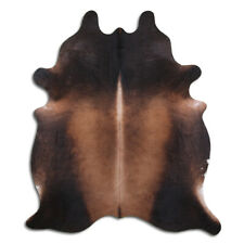 Real Cowhide Rug Tobacco Size 6 by 7 ft, Top Quality, Large Size, Brown - Black