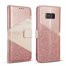 Luxury Bling Glitter Marble Printed Leather Case Wallet Cover for iPhone Samsung