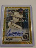 2020 Bowman Draft Garrett Mitchell 1st Chrome Gold Wave Refractor /50 Autograph