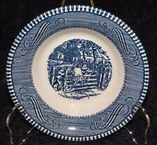 """Currier Ives Royal China Blue and White Farm Gate Berry Fruit Bowl 5 3/8"""" NICE!"""