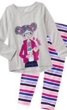 Gymboree Mix n Match 5-6 Gray Beautiful Girl Shirt Striped Leggings Set 16