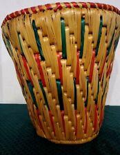 Waste paper Basket trash can handmade wicker straw sweet grass BEAUTIFUL