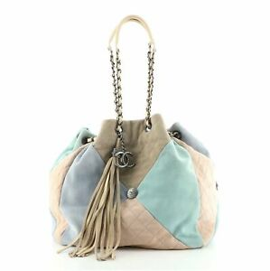 Chanel Patchwork Drawstring Bag Quilted Suede Small