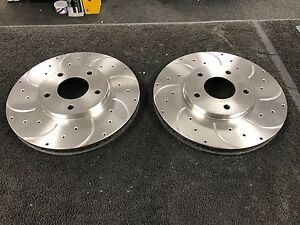 FOR MITSUBISHI 3000 GT FRONT BRAKE DISCS DRILLED GROOVED 296MM X 5 STUD