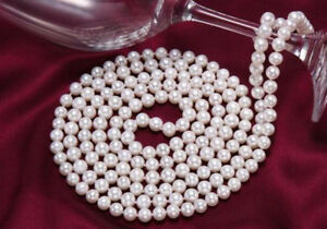 Classic 9-10mm natural south sea white round pearl necklace 48 inches 14k