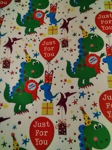 2 Sheets Of Dinosaur Party Gift Wrap Paper Birthday