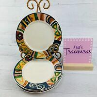 Oneida Majesticware SEVILLE Stoneware Geometric Appetizer Bread  Plates Set 4