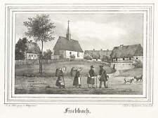 FISCHBACH (ARNSDORF) - TEILANSICHT MIT KIRCHE - Lithografie 1841