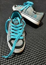 Vans Off The Wall Dustin Dollin Blue Gray Plaid Women's Skate Shoes Size 9 Punk