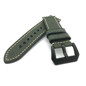 Dark Green Leather Watch Strap Panerai Style (Black PVD, 24mm)