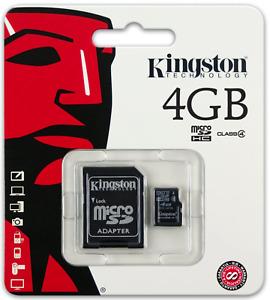 Kingston Memory Card 4 GB Class 4 - Micro SDHC - SDC4 / 4GB New incl. Adaptor