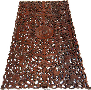 """Headboard Asian Floral Tropical Carved Wood Wall Panel.Size 27""""x48""""Dark Brown"""