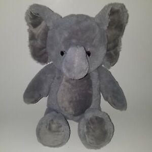 "Fiesta Solid Gray Elephant Plush 15"" Stuffed Animal Toy Lovey SOFT"