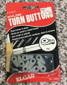 Elgar Nylon Turn Buttons Pack Of 8 Model No. 0081 Vintage