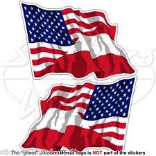 USA Amerika & ÖSTERREICH Wehende Flagge Amerikanische Fahne Aufkleber 120mm x2