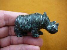 (Y-Rhi-713) Black green Rhino rhinoceros gemstone Figurine carving baby rhinos