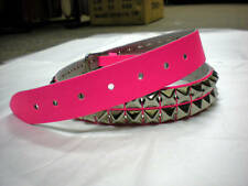 GENUINE LEATHER Pyramid Studded Belt. FLUORESCENT PINK. PB2
