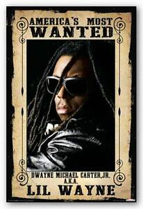 Lil Wayne America's Most Wanted Rap and Hip Hop Poster 24x36