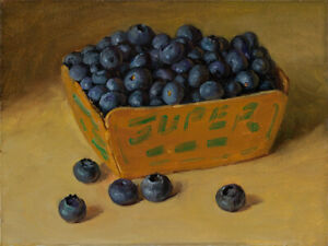 Original daily painting a day still life realism blueberries 8x6 Y Wang fine art