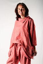 CHAMPAGNE ligne Leichte Bluse mit asymmetrischem Kragen in terracotta/lachs