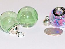 Wide Mouth Glass Crystal Ball Bottle fairy Locket vial Screw top Globe new Green