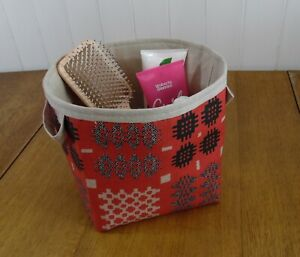 Welsh Weave Print Acrylic Oilcloth red large storage basket