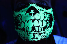 RAVE DAYGLOW NEON SAFETY GREEN SKULL BLACK BANDANA DUBSTEP BLACK LIGHT REACTIVE
